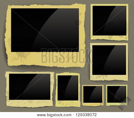 set of frames with jagged torn edges of different sizes