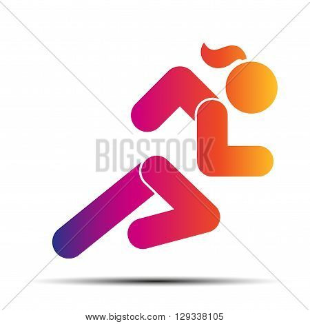 Running woman. Hot speed design. Simple symbol of run isolated on a white background. Vector Illustration.