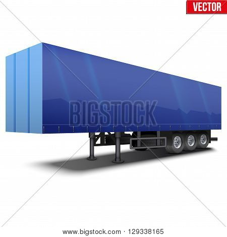Blank parked blue semi trailer with canvas cover. Perspective side view. Vector Illustration Isolated on white background