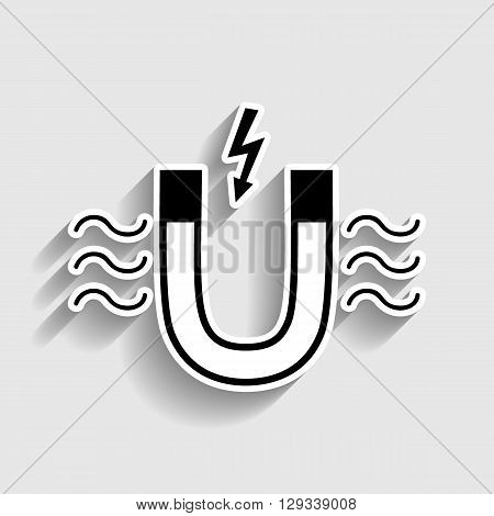 Icon of magnet with magnetic force indication. Sticker style icon with shadow on gray.