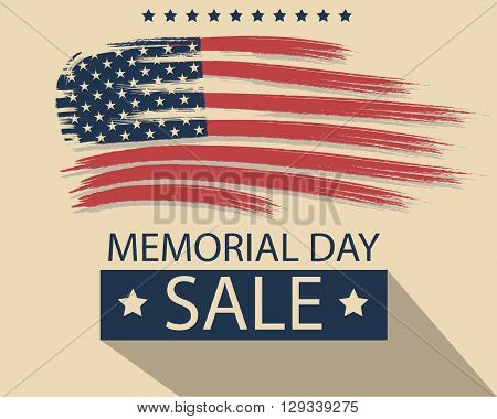 Banner on Memorial Day  sale. happy celebration . Postcard with the flag