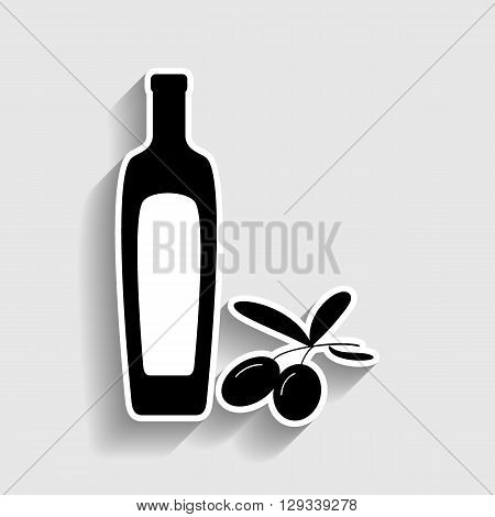 Black olives branch with olive oil bottle sign. Sticker style icon with shadow on gray.