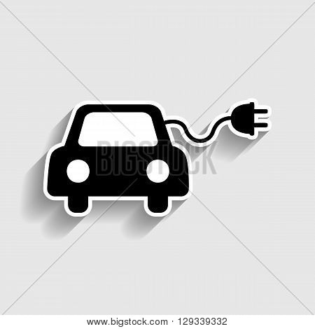 Eco electric car sign. Sticker style icon with shadow on gray.