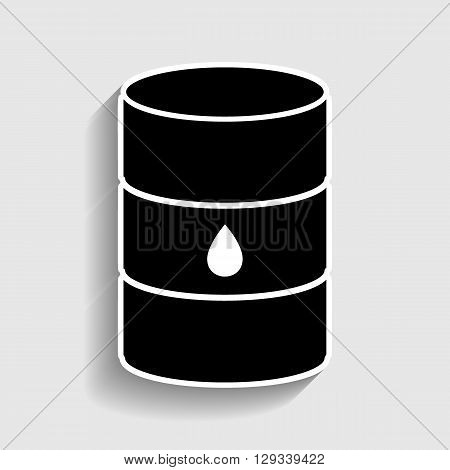 Oil barrel sign. Sticker style icon with shadow on gray.