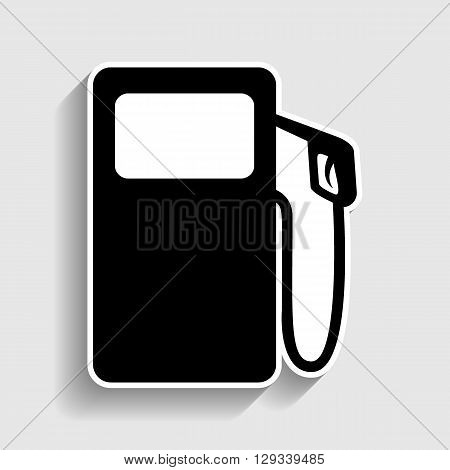 Gas pump sign. Sticker style icon with shadow on gray.