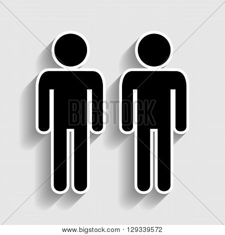 Gay family sign. Sticker style icon with shadow on gray.