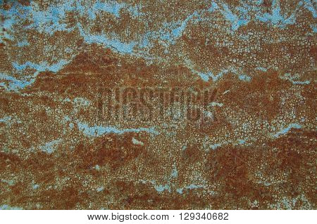 blue metal background with rust, metal surface