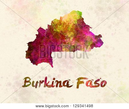 Burkina map in artistic and abstract watercolor
