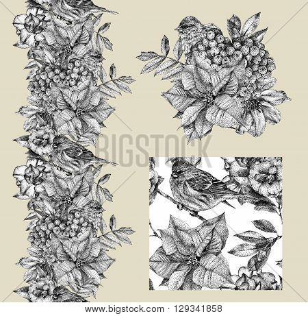 Set of border pattern and illustration with different flowers birds and plants drawn by hand with black ink. Graphic drawing pointillism technique. Set of floral elements