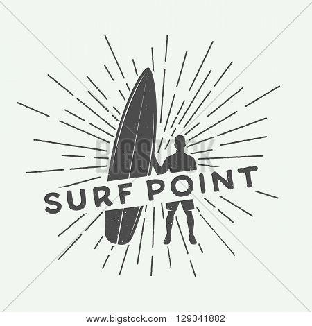 Vintage surfing logo emblem poster label or print with surfer and surfing board in retro style. Vector Illustration