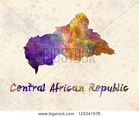 Central African Republic map in artistic and abstract watercolor