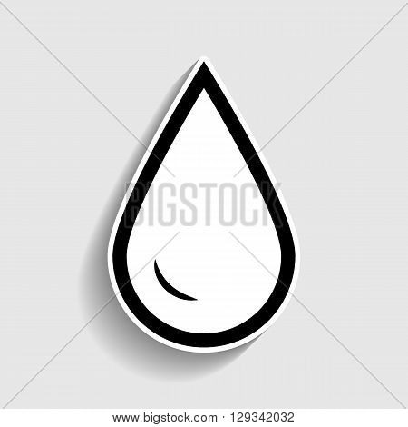 Drop of water sign. Sticker style icon with shadow on gray.