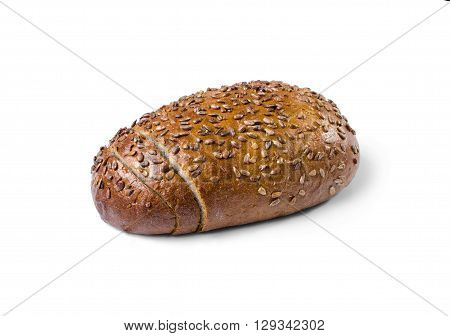 Loaf of wholemeal bred isolated on white background as a healthy eating concept.