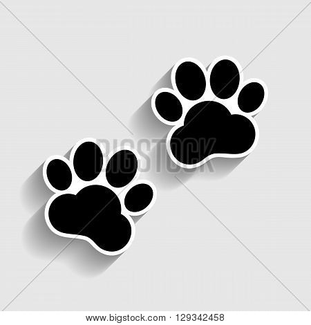 Animal Tracks sign. Sticker style icon with shadow on gray.