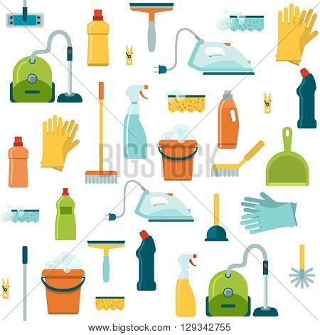 Seamless background pattern with cleaning washing housework tools sponge broom bottle vacuum cleaner gloves vector illustration