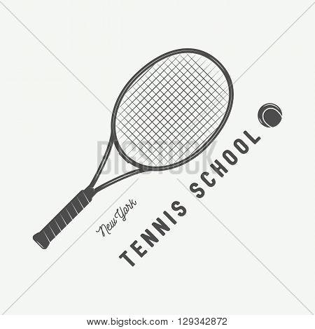 Vintage tennis logo badge emblem and much more. Vector Illustration