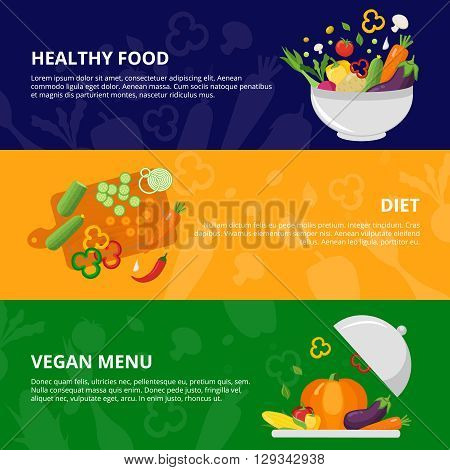 Flat isolated banner set with sliced vegetables in the bowl on the platter and cutting board vector illustratio