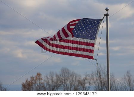 Stars and stripes in a breeze on the Blue Ridge over the Shenandoah Valley