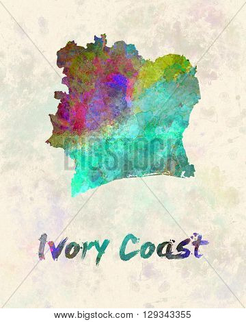 Ivory Coast map in artistic and abstract watercolor