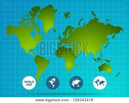 World map page of website with green continents grid buttons at bottom on blue background vector illustration