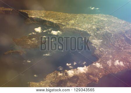 Greek Island Santorini From Flight Altitude