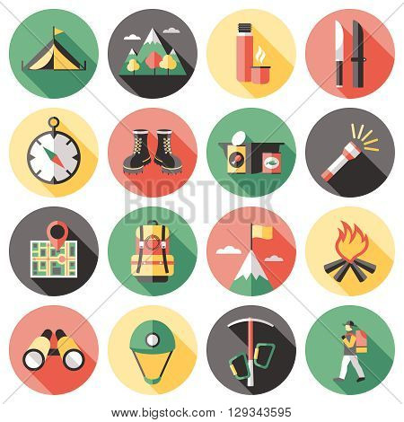Climber long shadow flat icons set with backpack thermos tools sportswear food mountain landscape isolated vector illustration