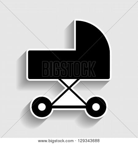 Pram sign. Sticker style icon with shadow on gray.