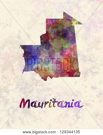 Mauritania map in artistic and abstract watercolor