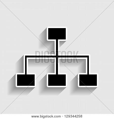 Site map sign. Sticker style icon with shadow on gray.