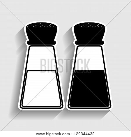 Salt and pepper sign. Sticker style icon with shadow on gray.