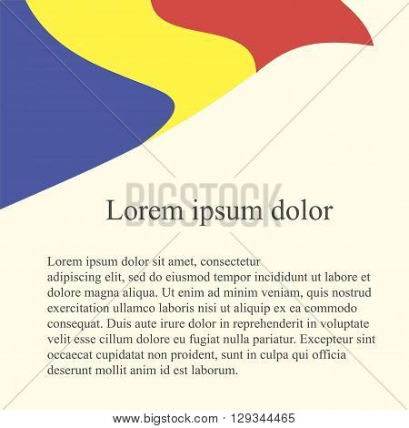 Rumanian flag background. Red, yellow, blue flag on light pink background, grey Lorem ipsum, vector