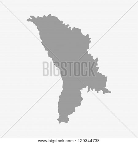 Moldova map in gray on a white background