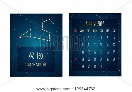 Vector calendar for august 2017 in the space style. Calendar with the image of the Leo constellation in the night starry sky. Elements for creative design ideas of your calendar
