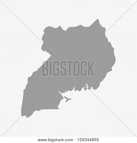 Map of Uganda in gray on a white background
