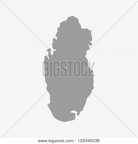 Map of Qatar in gray on a white background