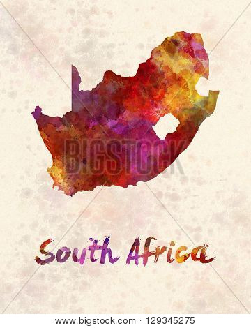 South Africa map in artistic and abstract watercolor