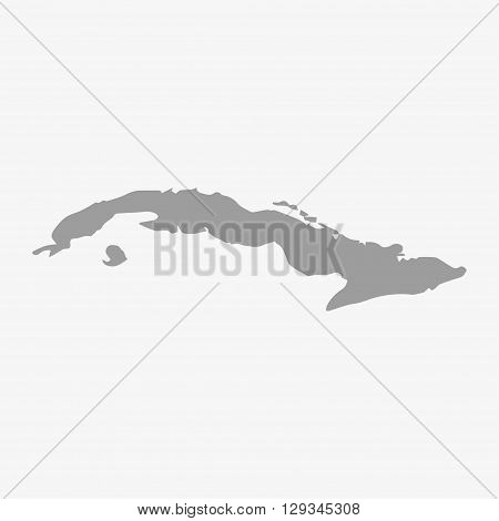 Map of Cuba in gray on a white background