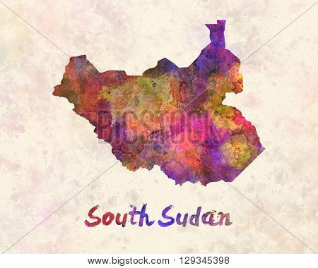 South Sudan map in artistic and abstract watercolor