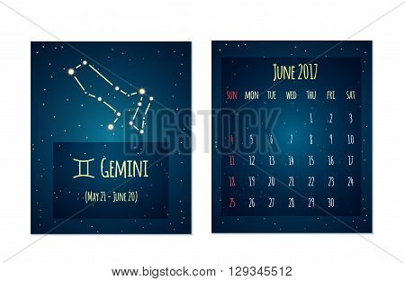 Vector calendar for June 2017 in the space style. Calendar with the image of the Gemini constellation in the night starry sky. Elements for creative design ideas of your calendar