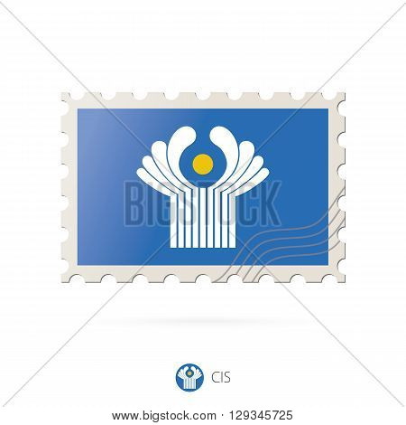 Postage Stamp With The Image Of Cis Flag.
