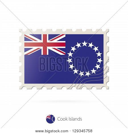 Postage Stamp With The Image Of Cook Islands Flag.