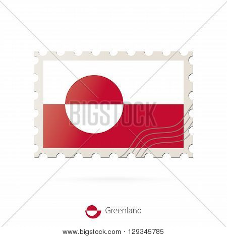 Postage Stamp With The Image Of Greenland Flag.