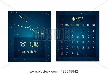Vector calendar for May 2017 in the space style. Calendar with the image of the Taurus constellation in the night starry sky. Elements for creative design ideas of your calendar