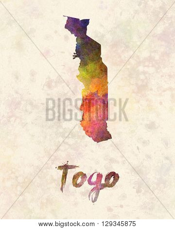 Togo map in artistic and abstract watercolor