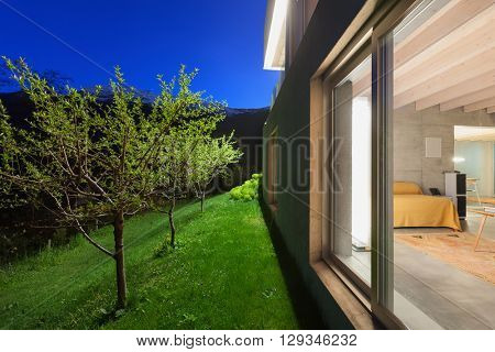Architecture modern design, exterior of house by night