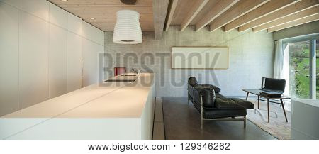 Interior of a modern chalet in cement, counter top of kitchen