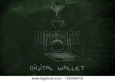 Coins Dropped Into Laptop's Virtual Purse, Caption Digital Wallet