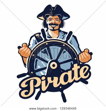 Jolly pirate at the helm of the ship. vector illustration