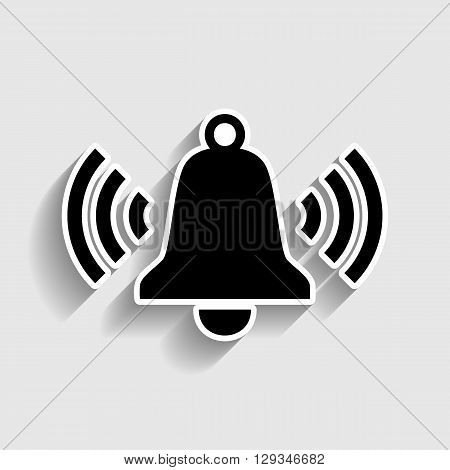 Ringing bell icon. Sticker style icon with shadow on gray.