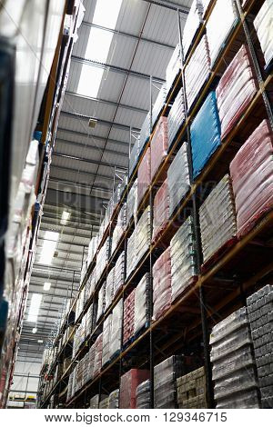 Low angle vertical view of stock in a distribution warehouse